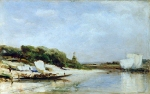 Alexey Petrovich Bogolyubov (16 March 1824  3 February 1896) Sura River. Noon Oil on wood, 1874