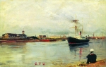 Alexey Petrovich Bogolyubov (16 March 1824 – 3 February 1896) St. Petersburg. Sea channel Oil on wood, 1885 18 x 27 cm Saratov State Art Museum of A.N. Radishchev