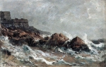 Alexey Petrovich Bogolyubov (16 March 1824 � 3 February 1896) Cliffs in Saint-Malo Oil on canvas, 1870
