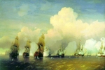 Alexey Petrovich Bogolyubov (16 March 1824 – 3 February 1896) A naval scene from the Battle of Krasnaya Gorka, near Kronstadt Oil on canvas, 1866