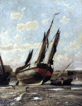 Alexey Petrovich Bogolyubov (16 March 1824 � 3 February 1896) Treport. Low tide in the harbor Oil on canvas, 1876