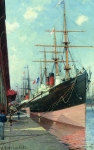Alexey Petrovich Bogolyubov (16 March 1824 � 3 February 1896) French ships in Le Havre Oil on wood, 1880-1890 41 x 27 cm Central Naval Museum, St. Petersburg, Russia