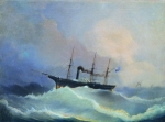 Alexey Petrovich Bogolyubov (16 March 1824  3 February 1896) 12-gun ship, the frigate \&quot;Kamchatka\&quot;  Oil on canvas, 1848  52 x 72 cm Central Naval Museum, St. Petersburg, Russia