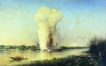 "Alexey Petrovich Bogolyubov (16 March 1824 – 3 February 1896) Explosion of the Turkish battleship ""Luft-Dzhelil\"" on the Danube April 29, 1877 Oil on canvas, 1877 155 x 245 cm Central Naval Museum, St. Petersburg, Russia"