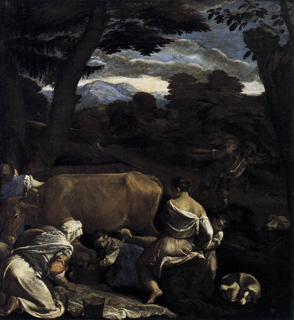 Jacopo Bassano (Jacopo da Ponte) (1510-1592)    Pastoral Scene  c. 1560  Oil on canvas, 139 x 129 cm  Museo Thyssen-Bornemisza, Madrid