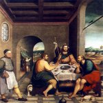 Jacopo Bassano (Jacopo da Ponte) (1510-1592)  Supper at Emmaus  Oil on canvas, 1538  92 1/2 x 98 3/8 inches (235 x 250 cm)  Private collection