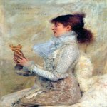 Jules Bastien-Lepage (1848-1884)  Portrait of Sarah Bernhardt  Oil on canvas, 1879  43 1/8 x 32 1/4 inches (109.73 x 82.04 cm)  Private collection