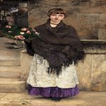 Jules Bastien-Lepage (1848-1884)  Marchande de Fleurs а Londre [Flower-seller in London]  Oil on canvas, 1882  68 1/4 x 35 1/2 inches (173.4 x 90.2 cm)  Private collection