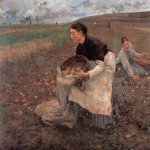 Jules Bastien-Lepage (1848-1884)  Saison d'Octobre: Recolte_des_pommes_de_terre [October: Gathering Potatoes]  Oil on canvas, 1879  71 x 77 inches (180.34 x 195.58 cm)  National Gallery of Victoria, Melbourne