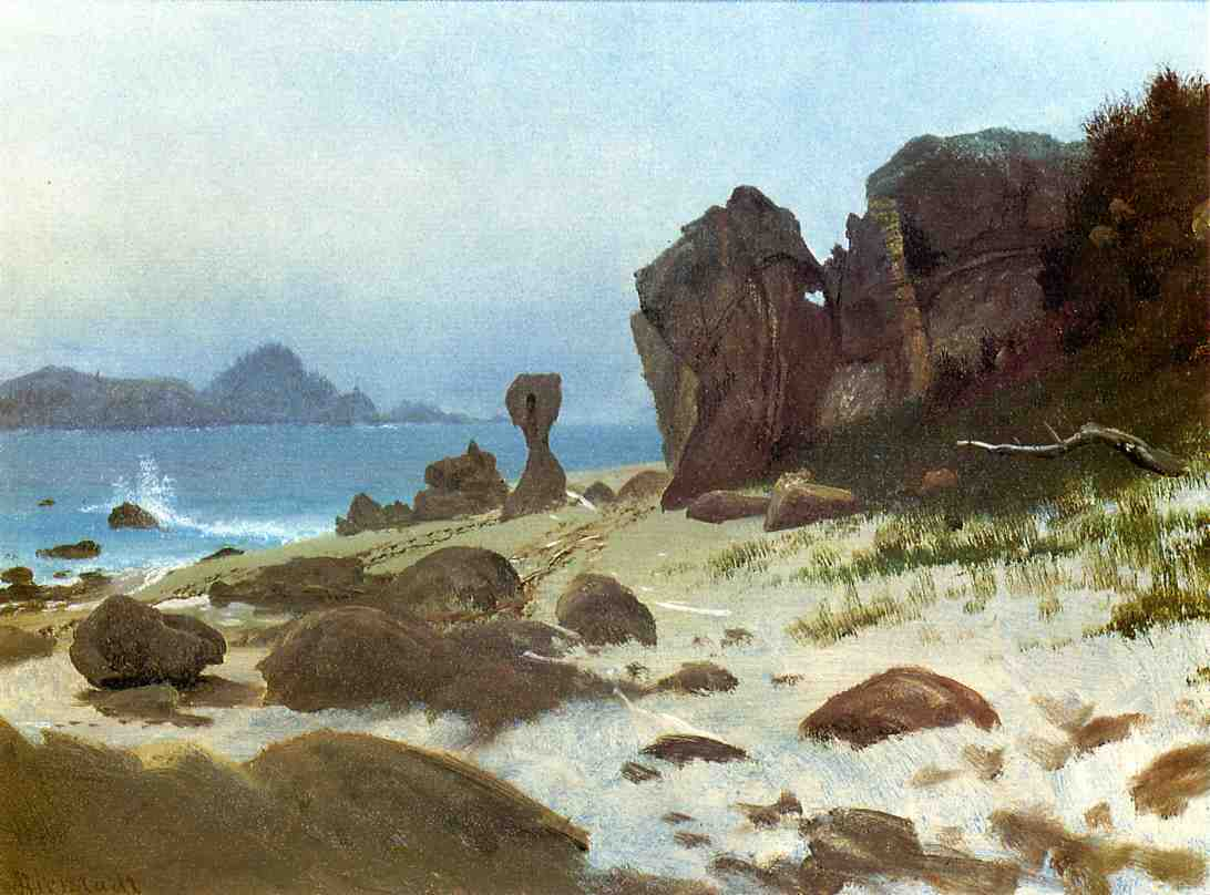 Albert Bierstadt (1830-1902)  Bay of Monterey  Oil on paper  13 5/8 x 18 3/4 inches (34.92 x 47.63 cm)  Public collection