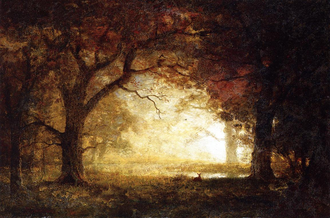 Albert Bierstadt (1830-1902)  Forest Sunrise  Oil on canvas  32 1/2 x 48 1/4 inches (82.55 x 122.56 cm)  Public collection
