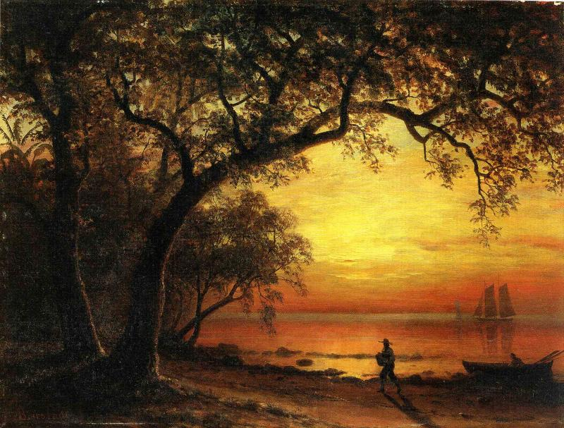Albert Bierstadt (1830-1902)  Island of New Providence  Oil on paper  13 3/4 x 19 1/4 inches (34.93 x 48.90 cm)  Public collection