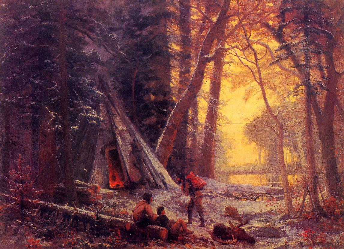 Albert Bierstadt (1830-1902)  Moose Hunters' Camp  Oil on canvas, c.1880  Public collection