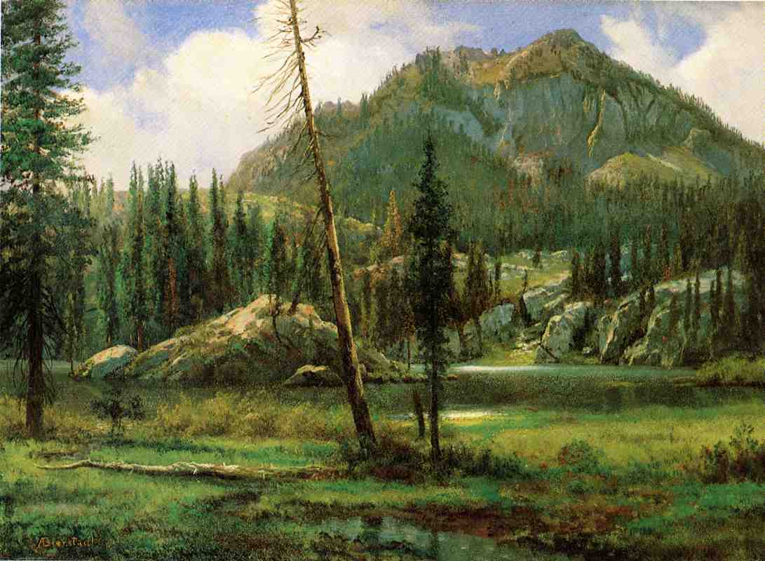 Albert Bierstadt (1830-1902)  Sierra Nevada Mountains  Oil on paper laid down on board  13 3/4 x 18 3/4 inches (35.24 x 47.63 cm)  Public collection