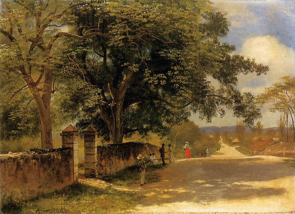 Albert Bierstadt (1830-1902)  Street in Nassau  Oil on canvas, 1878  13 x 19 inches (33.02 x 48.26 cm)  Public collection