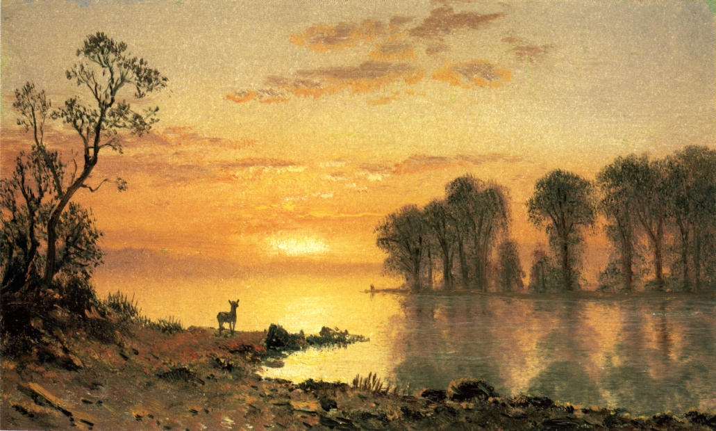 Albert Bierstadt (1830-1902)  Sunset, Deer, and River  Oil on canvas, c.1868  5 1/4 x 8 1/2 inches (13.34 x 21.59 cm)  Public collection
