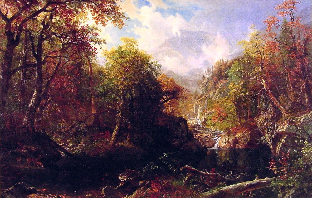 Albert Bierstadt (1830-1902)  The Emerald Pool  Oil on canvas, 1870  76 3/8 x 119 inches (194.3 x 302.3 cm)  Chrysler Collection, Norfolk