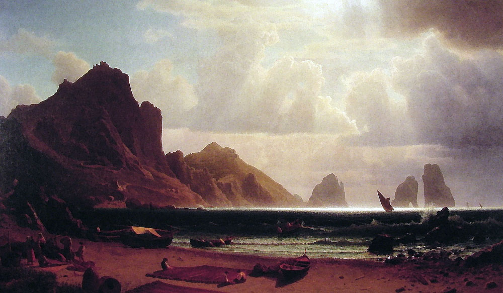Albert Bierstadt (1830-1902)  The Marina Piccola, Capri  Oil on canvas, 1859  42 x 72 inches (106.7 x 182.9 cm)  Albright-Knox Art Gallery, Buffalo