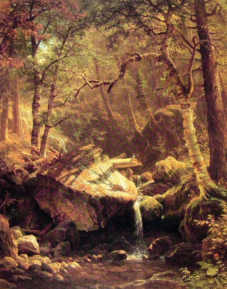 Albert Bierstadt (1830-1902)  The Mountain Brook  Oil on canvas, 1863  44 x 35 7/8 inches (111.8 x 91.4 cm)  Collection of Gil Michaels