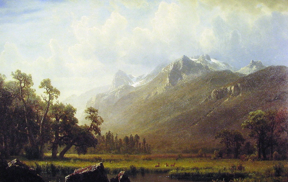 Albert Bierstadt (1830-1902)  The Sierras near Lake Tahoe California  Oil on panel, 1865  15 1/2 x 20 7/8 inches (39.4 x 53.3 cm)  Berry-Hill Galleries, New York