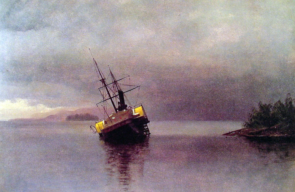 Albert Bierstadt (1830-1902)  Wreck of the Ancon in Loring Bay Alaska  Oil on paper mounted on panel, 1889  14 x 19 3/4 inches (35.6 x 50.2 cm)  Museum of Fine Arts, Boston