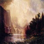 Albert Bierstadt (1830-1902)  Among the Sierra Nevada Mountains, California  Oil on canvas, 1868  72 x 120 inches (182.9 x 304.8 cm)  National Museum of American Art, Smithsonian Institution, Washington DC