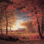 Albert Bierstadt (1830-1902)  Autumn in America, Oneida County, New York  Oil on canvas  27 5/8 x 19 3/4 inches (70.17 x 50.17 cm)  Public collection