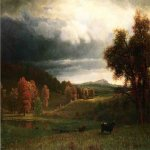 Albert Bierstadt (1830-1902)  Autumn Landscape: The Catskills  Oil on canvas  29 1/2 x 43 1/4 inches (74.93 x 109.86 cm)  Public collection