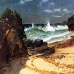 Albert Bierstadt (1830-1902)  Beach at Nassau  Oil on canvas  11 1/4 x 18 1/2 inches (28.58 x 46.99 cm)  Public collection