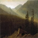 Albert Bierstadt (1830-1902)  Bears in the Wilderness  Oil on paper mounted on board, c.1870  4 1/2 x 6 1/2 inches (11.43 x 16.51 cm)  Public collection