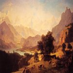 Albert Bierstadt (1830-1902)  Bernese Alps, as Seen near Kusmach  Oil on canvas, 1859  Public collection