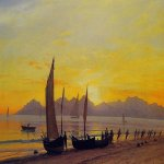Albert Bierstadt (1830-1902)  Boats Ashore at Sunset  Oil on canvas  12 7/8 x 23 1/2 inches (33 x 59.7 cm)  Private collection