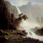 Albert Bierstadt (1830-1902)  Bridal Veil Falls, Yosemite  Oil on canvas, c.1871-1873  36 1/8 x 26 3/8 inches (91.8 x 67 cm)  North Carolina Museum of Art, Raleigh