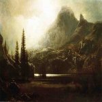 Albert Bierstadt (1830-1902)  By a Mountain Lake  Oil on canvas  30 x 44 inches (76.2 x 111.76 cm)  Public collection