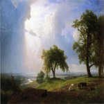 Albert Bierstadt (1830-1902)  California Spring  Oil on canvas, 1875  54 1/8 x 84 1/4 inches (137.79 x 214 cm)  Fine Arts Museum of San Francisco, San Francisco