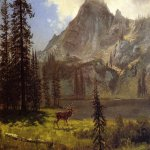 Albert Bierstadt (1830-1902)  Call of the Wild  Oil on paper laid down on canvas  13 1/2 x 19 1/4 inches (34.29 x 48.9 cm)  Public collection