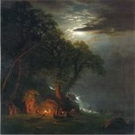 Albert Bierstadt (1830-1902)  Campfire Site, Yosemite  Oil on canvas, c.1873  30 x 24 inches (76.2 x 60.96 cm)  Public collection