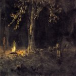 Albert Bierstadt (1830-1902)  Campfire, Yosemite Valley  Oil on paper laid down on board  8 x 15 inches (20.32 x 38.1 cm)  Public collection