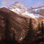 Albert Bierstadt (1830-1902)  Canadian Rockies, Asulkan Glacier  Oil on paper mounted on canvas  27 3/4 x 19 inches (70.49 x 48.26 cm)  Public collection