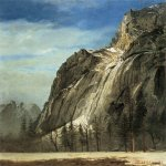 Albert Bierstadt (1830-1902)  Cathedral Rocks, A Yosemite View  Oil on paper mounted on canvas, c.1872  19 x 13 5/8 inches (48.26 x 34.92 cm)  Public collection
