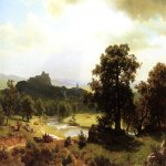 Albert Bierstadt (1830-1902)  Day's Beginning  Oil on canvas, c.1854-1856  31 1/2 x 45 1/2 inches (80.01 x 115.57 cm)  Public collection