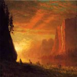 Albert Bierstadt (1830-1902)  Deer at Sunset  Oil on paper,laid down on canvas  14 x 19 1/2 inches (35.56 x 49.53 cm)  Public collection