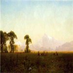 Albert Bierstadt (1830-1902)  Deer Grazing, Grand Tetons, Wyoming  Oil on canvas, 1861  15 x 25 1/4 inches (38.1 x 64.14 cm)  Public collection