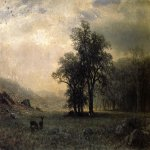Albert Bierstadt (1830-1902)  Deer in a Landscape  Oil on canvas  14 x 19 3/4 inches (35.56 x 50.17 cm)  Public collection
