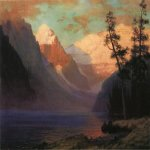 Albert Bierstadt (1830-1902)  Evening Glow, Lake Louise  Oil on canvas  14 x 20 inches (35.56 x 50.80 cm)  Public collection