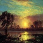 Albert Bierstadt (1830-1902)  Evening, Owens Lake, California  Oil on canvas  13 1/2 x 19 inches (34.29 x 48.26 cm)  Public collection