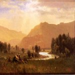 Albert Bierstadt (1830-1902)  Figures in a Hudson River Landscape  Oil on board  4 x 6 inches (10.16 x 15.24 cm)  Public collection