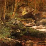Albert Bierstadt (1830-1902)  Forest Stream  Oil on paper mounted on masonite  19 1/2 x 13 1/2 inches (49.53 x 34.29 cm)  Public collection