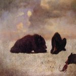 Albert Bierstadt (1830-1902)  Grizzly Bears  Oil on paper, c.1859  14 x 15 7/8 inches (35.6 x 40.6 cm)  Layton Art Collection, Milwaukee Art Museum
