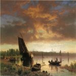 Albert Bierstadt (1830-1902)  Harbor Scene  Oil on canvas, 1860-1869  14 x 20 inches (35.56 x 50.80 cm)  Public collection